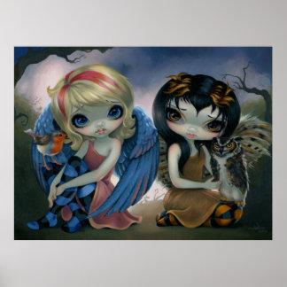 Owlyn and Robyn - Owl Fairy Art Print big eyes art