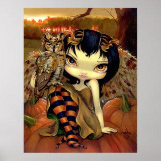 Owlyn in Autumn ART PRINT owl fairy halloween