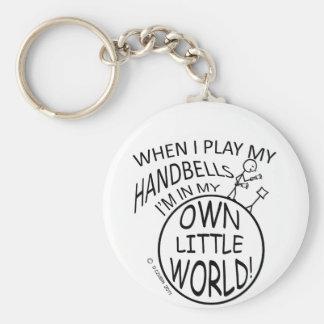 Own Little World Handbells Basic Round Button Keychain