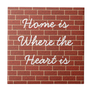 Own text on faux brick wall small square tile