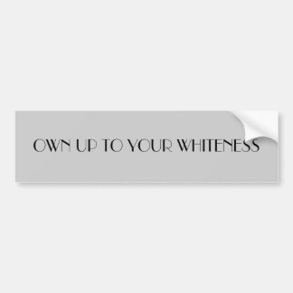 OWN UP TO YOUR WHITENESS CAR BUMPER STICKER