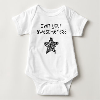 Own your awesomeness shirt black letters and stars