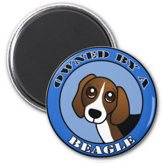 Owned by A  Beagle - Blue 2 Inch Round Magnet