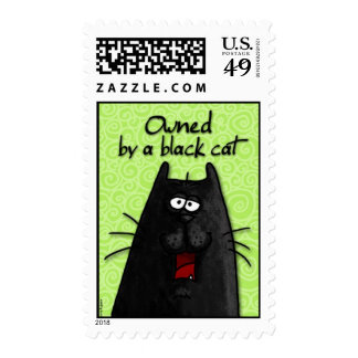 owned by a black cat postage
