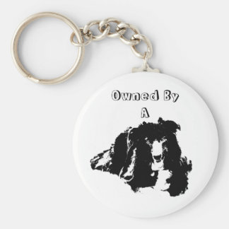 Owned By A Border Collie Cute Dog Basic Round Button Keychain