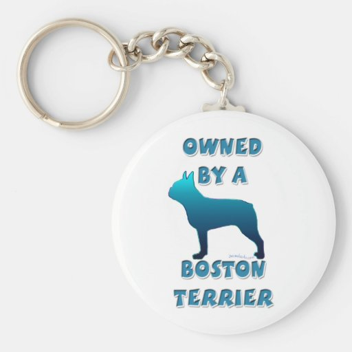 Owned by a Boston Terrier Keychain