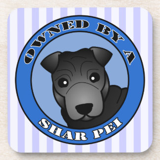 Owned by A Shar Pei - Black Coat - Blue Coaster