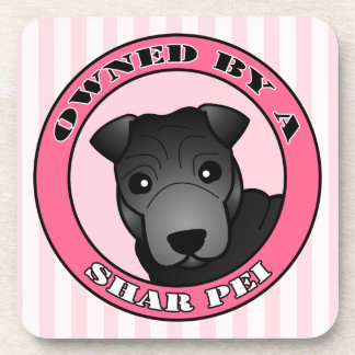 Owned by A Shar Pei - Black Coat - Pink Drink Coaster