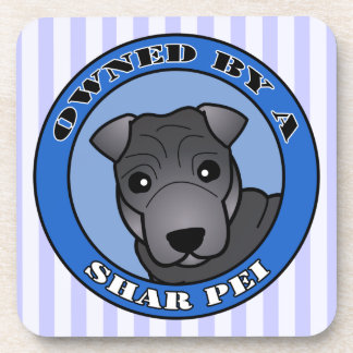 Owned by A Shar Pei - Blue Coat - Blue Drink Coaster