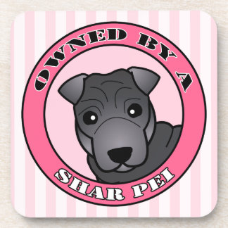 Owned by A Shar Pei - Blue Coat - Pink Beverage Coaster