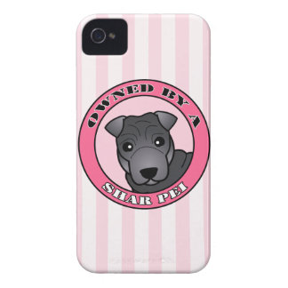 Owned by A Shar Pei - Blue Coat - Pink iPhone 4 Cover