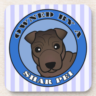 Owned by A Shar Pei - Brown Coat - Blue Coaster