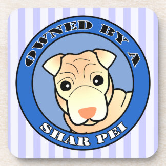 Owned by A Shar Pei - Cream Coat - Blue Drink Coaster