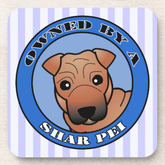 Owned by A Shar Pei - Red Coat with Mask - Blue Coaster