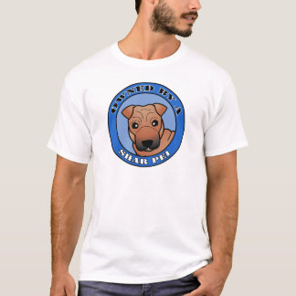 Owned by A Shar Pei - Red Coat with Mask - Blue T-Shirt
