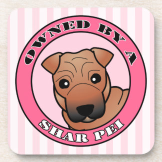 Owned by A Shar Pei - Red Coat with Mask - Pink Coaster