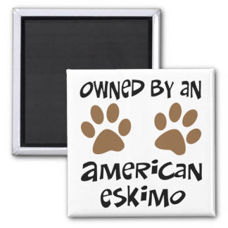 Owned By An American Eskimo 2 Inch Square Magnet