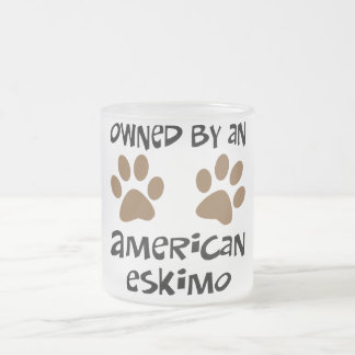Owned By An American Eskimo Frosted Glass Coffee Mug