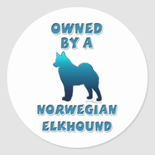 Owned by an Elkhound Classic Round Sticker