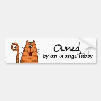 owned orange tabby bumper sticker