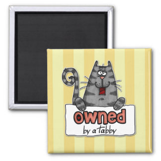owned tabby 2 inch square magnet