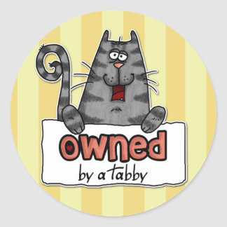 owned tabby classic round sticker