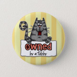 owned tabby pinback button