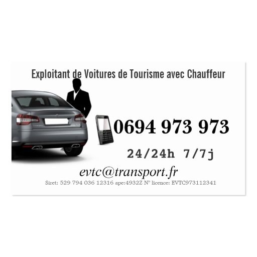 Owner of Private cars with Driver Business Card Template (back side)