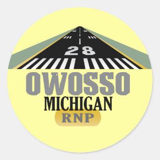 Owosso MI - Airport Runway Classic Round Sticker