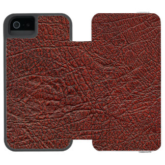 Ox Blood Leather Fine Grain Burnt Red Brown iPhone SE/5/5s Wallet Case