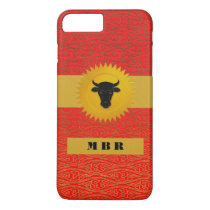 Ox Chinese Zodiac Animal with Monogram in Red iPhone 8 Plus/7 Plus Case