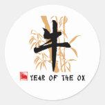 Ox Symbol Gifts Round Stickers