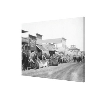 Ox Teams along Main Street of Sturgis Photograph Canvas Print
