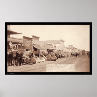 Ox Teams at Sturgis Dakota Territory SD 1887 Print