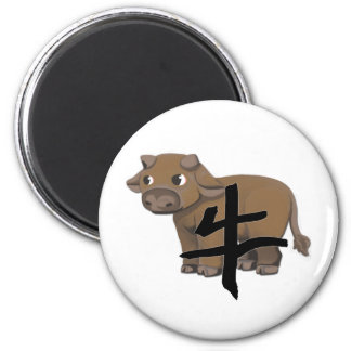 Ox with character 2 inch round magnet