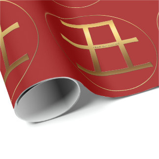 Ox Year Gold embossed effect Symbol Wrapping P Wrapping Paper