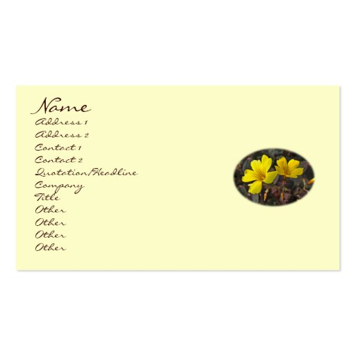 Oxalis amarillo florece - trébol - el trébol tarjeta personal