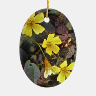 Oxalis Amarillo-Floreció el Houseplant Adorno Navideño Ovalado De Cerámica