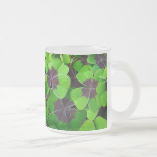 Oxalis Leaves - Red and Green Frosted Glass Coffee Mug