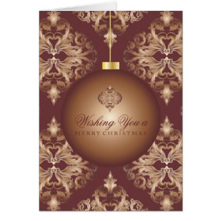 Oxblood and Copper Deluxe Damask Christmas Cards