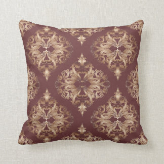 Oxblood and Copper Deluxe Damask Throw Pillows