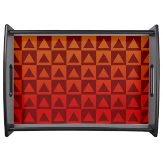 Oxblood Red and Autumn Gradient Triangles&Checkers Serving Tray