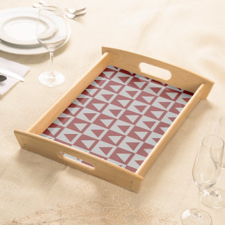 Oxblood Red&Grey Triangles&Checkers Design Serving Tray