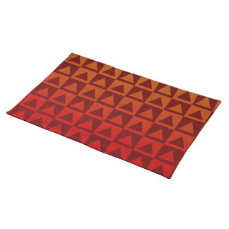 Oxblood Red&Orange Gradient Triangles&Checkers Cloth Placemat