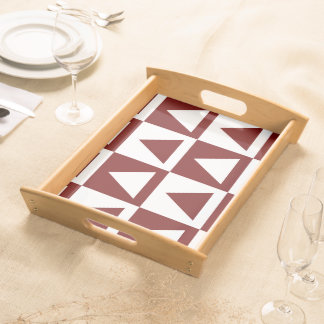 Oxblood Red&White Triangles&Checkers Design Serving Tray