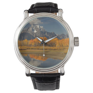oxbow bend in fall colors wrist watch