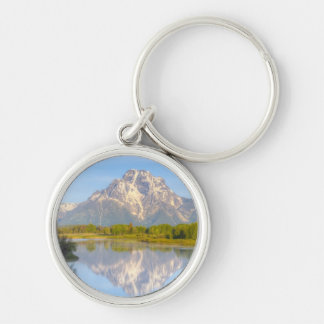 Oxbow Bend Silver-Colored Round Keychain
