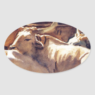 Oxen in Repose by John Singer Sargent Oval Sticker