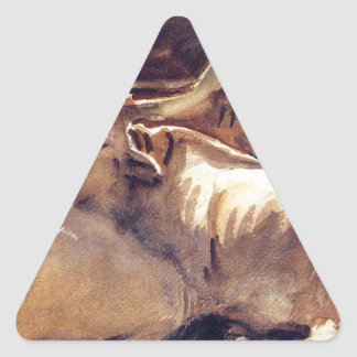 Oxen in Repose by John Singer Sargent Triangle Sticker