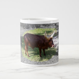 Oxen part color part black and white large coffee mug